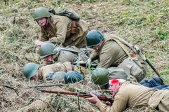 Reconstruction of battle of 1941 World war 2 between Nazi troops and cadets of the Podolsk military College. Royalty Free Stock Photography