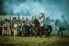 Reconstruction of battles of the Patriotic war of 1812 Russian city Maloyaroslavets. Stock Photography