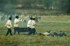 Reconstruction of battles of the Patriotic war of 1812 Russian city Maloyaroslavets. Stock Image