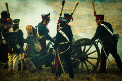 Reconstruction of battles of the Patriotic war of 1812 Russian city Maloyaroslavets. Royalty Free Stock Images