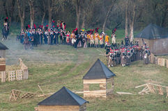 Reconstruction of battles of the Patriotic war of 1812 Russian city Maloyaroslavets. Royalty Free Stock Image