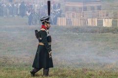 Reconstruction of battles of the Patriotic war of 1812 Russian city Maloyaroslavets. Royalty Free Stock Photos