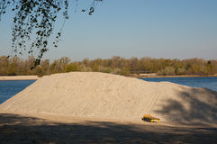 Reconstruction of the beach. Pile of sand for reconstruction of the beach in Kiev Royalty Free Stock Photography