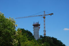 Reconstruction after bombing. Building a new TV tower on Avala in Belgrade, Serbia Royalty Free Stock Image