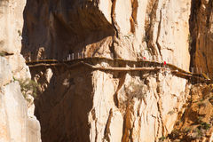 Reconstruction of  Camino del Rey Stock Photography