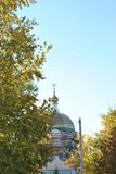 Reconstruction Church in the city. Reconstruction of the Church in the city, repair of domes and crosses Stock Photos