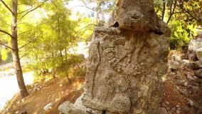 Reconstruction in the city of the times of antiquity, the Lycian kingdom, forbidden archeology. Ruins of the ancient city of Olympos, Lycian trail, Roman burials stock video footage