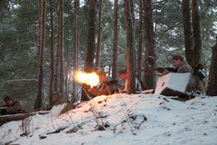 Reconstruction of combat between Soviet and Nazi troops Stock Images