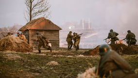 Reconstruction de bataille pendant les événements consacrés Photos stock