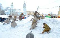 Reconstruction de la bataille de l'armée tsariste russe Images stock