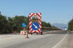 Reconstruction de route en Grèce Image stock