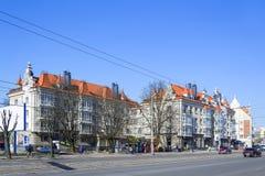 Reconstruction de vieilles maisons au centre de Kaliningrad Image stock