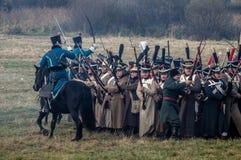 Reconstruction des batailles de la guerre patriotique de la ville Maloyaroslavets de 1812 Russes Images stock