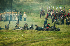 Reconstruction des batailles de la guerre patriotique de la ville Maloyaroslavets de 1812 Russes Photos stock