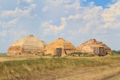 Reconstruction of dwellings of stone century Stock Image