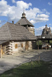 Reconstruction of farm buildings, watchtower and church in Cossa. Ck fortress on the island of Khortytsya royalty free stock images