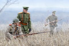 Reconstruction of the First world war, participants in the form of the Royal army of the Russian Empire. November 1 Stock Photos