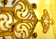 Reconstruction of a gilded cross on the top of church Royalty Free Stock Images