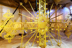 Reconstruction of a gilded cross on the top of church Royalty Free Stock Image