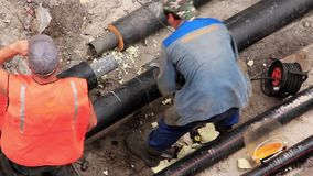 Reconstruction of heating system stock footage