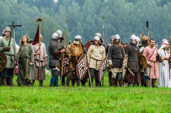 Reconstruction of the historic battle of the ancient Slavs in the fifth festival of historical clubs in Zhukovsky district of Kalu. Ga region of Russia. In Stock Images