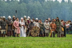 Reconstruction of the historic battle of the ancient Slavs in the fifth festival of historical clubs in Zhukovsky district of Kalu. Ga region of Russia. In Royalty Free Stock Photos