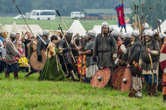 Reconstruction of the historic battle of the ancient Slavs in the fifth festival of historical clubs in Zhukovsky district of Kalu. Ga region of Russia. In Royalty Free Stock Photography