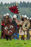 Reconstruction of the historic battle of the ancient Slavs in the fifth festival of historical clubs in Zhukovsky district of Kalu Royalty Free Stock Photography