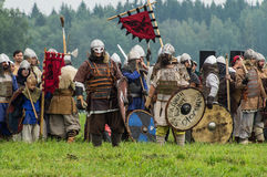 Reconstruction of the historic battle of the ancient Slavs in the fifth festival of historical clubs in Zhukovsky district of Kalu. Ga region of Russia. In Royalty Free Stock Photo