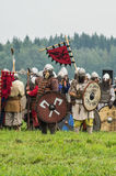 Reconstruction of the historic battle of the ancient Slavs in the fifth festival of historical clubs in Zhukovsky district of Kalu Royalty Free Stock Photo