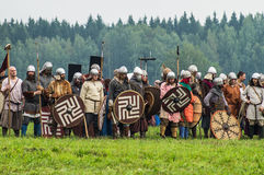 Reconstruction of the historic battle of the ancient Slavs in the fifth festival of historical clubs in Zhukovsky district of Kalu. Ga region of Russia. In Royalty Free Stock Image