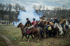 Reconstruction of the historic battle between the Russian and Napoleon's troops from the Russian city of Maloyaroslavets. The battle of Maloyaroslavets the Stock Images
