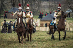 Reconstruction of the historic battle between the Russian and Napoleon's troops from the Russian city of Maloyaroslavets. The battle of Maloyaroslavets the Stock Photo
