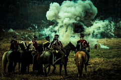 Reconstruction of the historic battle between the Russian and Napoleon's troops from the Russian city of Maloyaroslavets. Royalty Free Stock Images