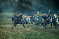 Reconstruction of the historic battle between the Russian and Napoleon's troops from the Russian city of Maloyaroslavets. Stock Photography