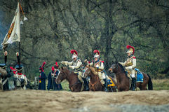 Reconstruction of the historic battle between the Russian and Napoleon's troops from the Russian city of Maloyaroslavets. Stock Images