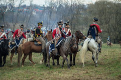 Reconstruction of the historic battle between the Russian and Napoleon's troops from the Russian city of Maloyaroslavets. Royalty Free Stock Photo