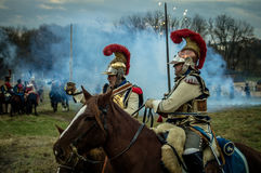 Reconstruction of the historic battle between the Russian and Napoleon's troops from the Russian city of Maloyaroslavets. Royalty Free Stock Photography