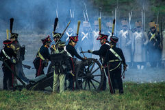 Reconstruction of the historic battle between the Russian and Napoleon's troops from the Russian city of Maloyaroslavets. Stock Photo