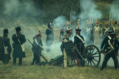Reconstruction of the historic battle between the Russian and Napoleon's troops from the Russian city of Maloyaroslavets. The battle of Maloyaroslavets the Stock Image