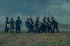 Reconstruction of the historic battle between the Russian and Napoleon's troops from the Russian city of Maloyaroslavets. The battle of Maloyaroslavets the Stock Photos