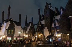 Reconstruction of Hogsmeade Village in Universal Studios Japan. Hogsmeade Village in Harry Potter World of Universal Studios Japan. The themed area is a faithful Royalty Free Stock Photo