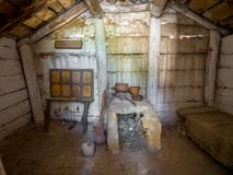 Reconstruction of the interior of the ancient dwelling, archaeological park `From nomadic to cities`, Divnogorye, Voronezh region. Divnogorye, Russia - September stock image