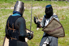 Reconstruction of knightly fight Stock Photo
