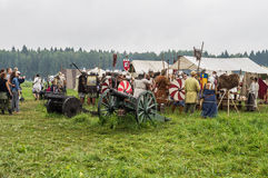 Reconstruction of life of ancient Slavs on the festival of historical clubs in Zhukovsky district of Kaluga region of Russia. Stock Photos