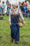 Reconstruction of life of ancient Slavs on the festival of historical clubs in Zhukovsky district of Kaluga region of Russia. Royalty Free Stock Photo