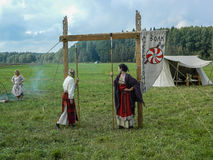 Reconstruction of life of ancient Slavs on the festival of historical clubs in Zhukovsky district of Kaluga region of Russia. Stock Photography