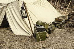 Reconstruction of life and subjects of second world war, military camp Royalty Free Stock Image