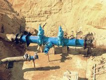 Reconstruction of main City water supply pipeline in underground. Royalty Free Stock Images