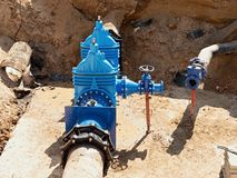 Reconstruction of main City water supply pipeline in underground. Royalty Free Stock Photography